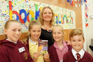 Mrs Amos-Simpson with young authors
